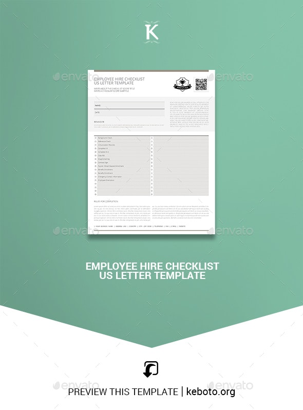 Employee Hire Checklist US Letter Template - Miscellaneous Print Templates