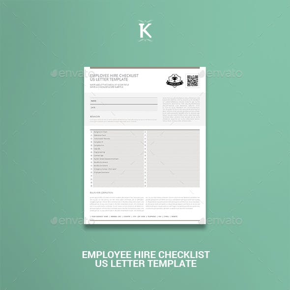 Employee Hire Checklist US Letter Template