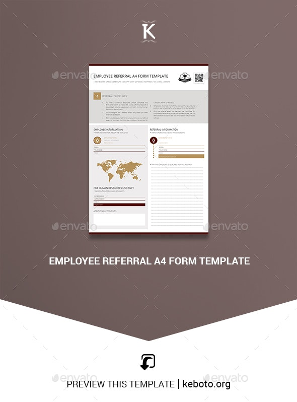 Employee Referral A4 Form Template - Miscellaneous Print Templates