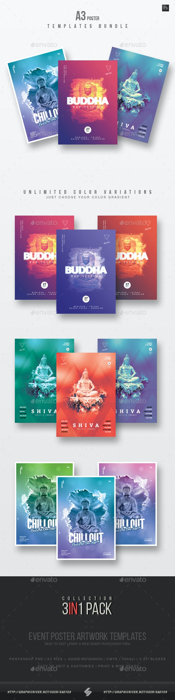Buddha Bar Chillout vol.2 - Event Flyer Templates Bundle - Clubs & Parties Events