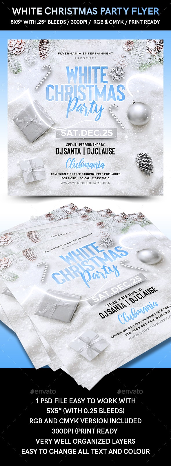 White Christmas Party Flyer - Flyers Print Templates