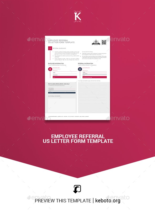 Employee Referral US Letter Form Template - Miscellaneous Print Templates