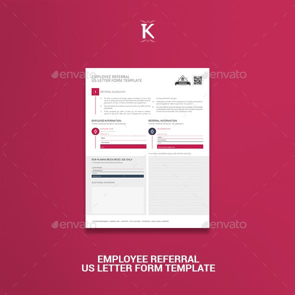 Employee Referral US Letter Form Template