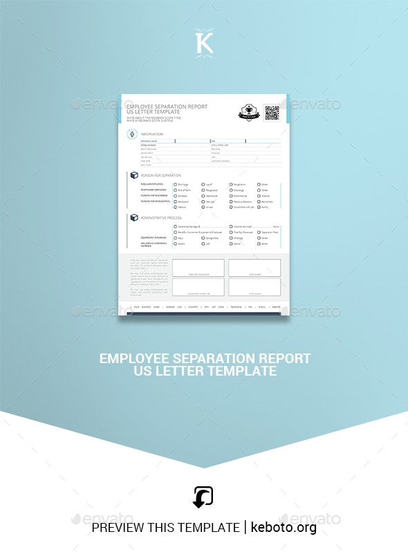 Employee Separation Report US Letter Template - Miscellaneous Print Templates