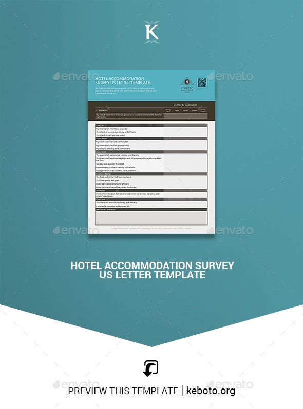 Hotel Accommodation Survey US Letter Template - Miscellaneous Print Templates