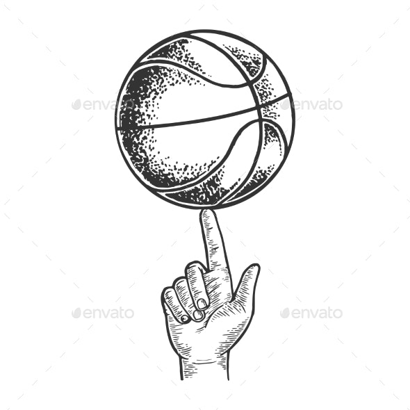 Basketball Spinning on Finger Engraving Vector - Miscellaneous Vectors