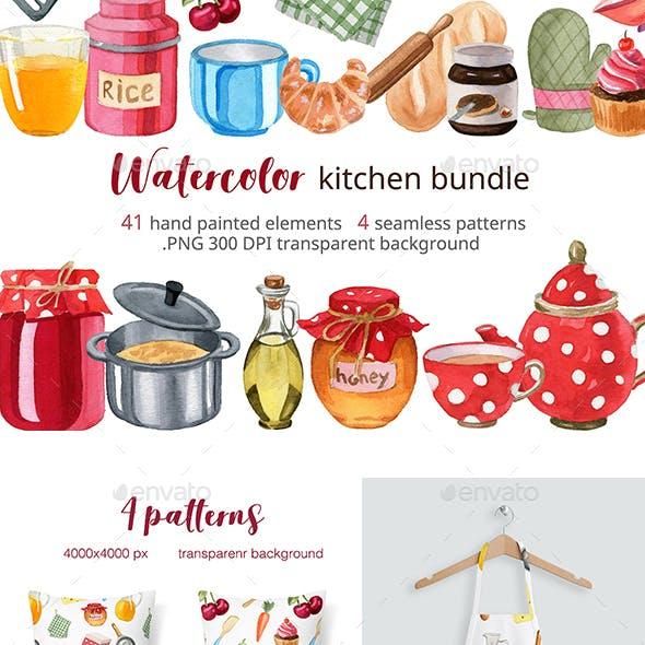 Watercolor Kitchen Accessories Set
