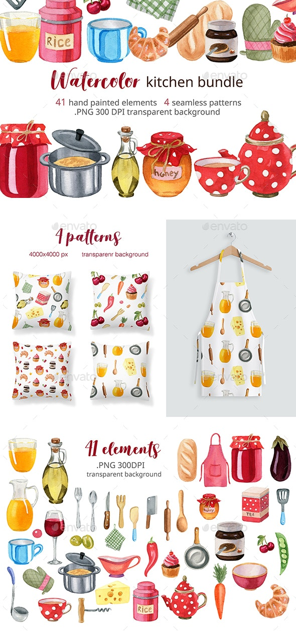 Watercolor Kitchen Accessories Set - Objects Illustrations