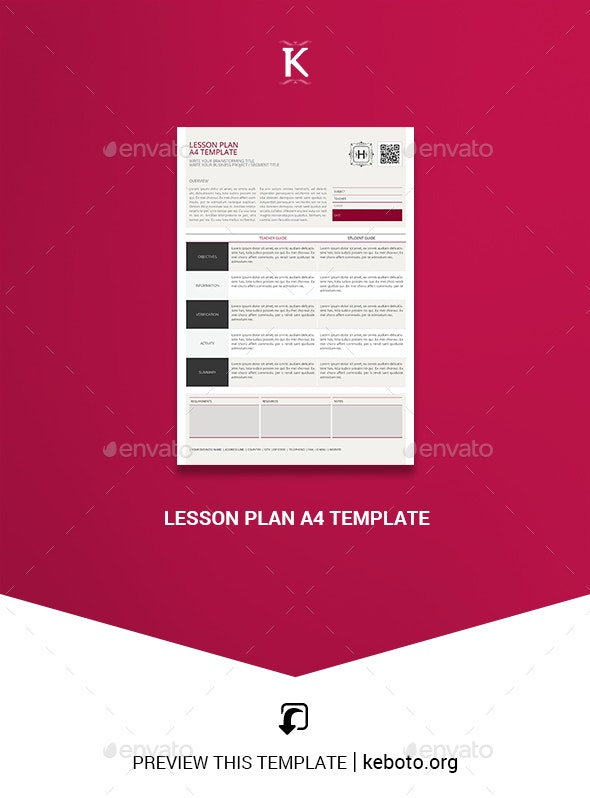 Lesson Plan A4 Template - Miscellaneous Print Templates