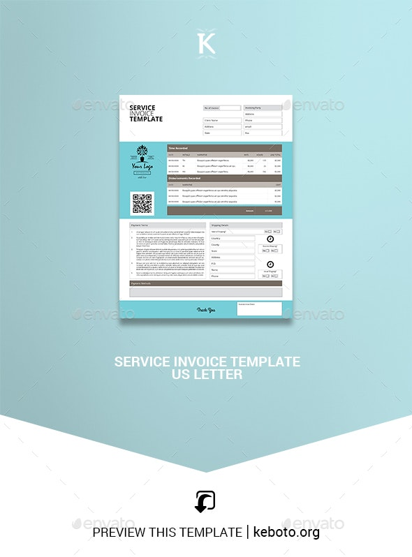 Service Invoice Template US Letter - Proposals & Invoices Stationery