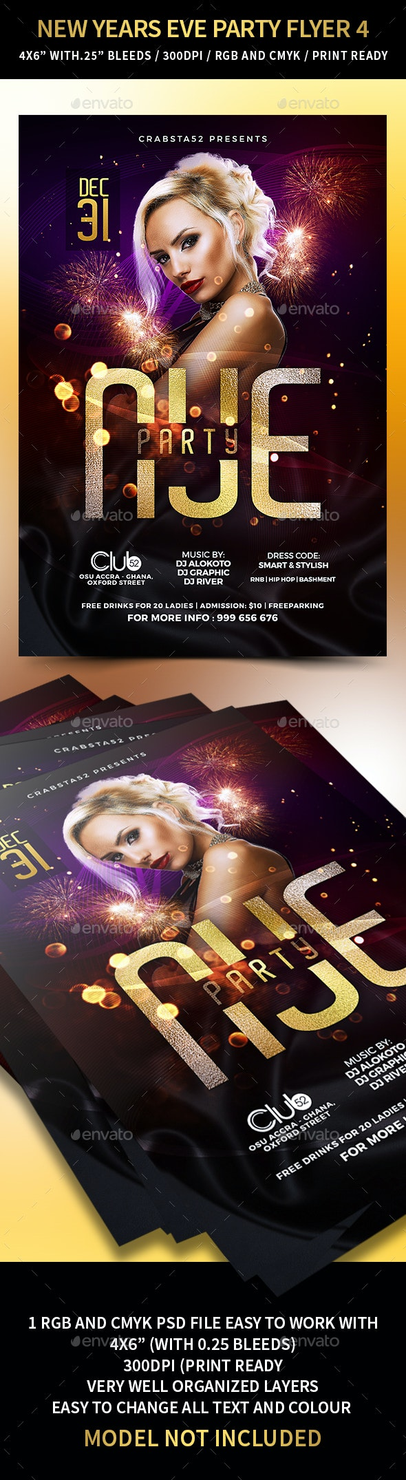New Years Eve Party Flyer 4 - Flyers Print Templates