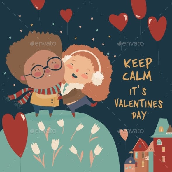 Cartoon Couple in Love Celebrating Valentines Day