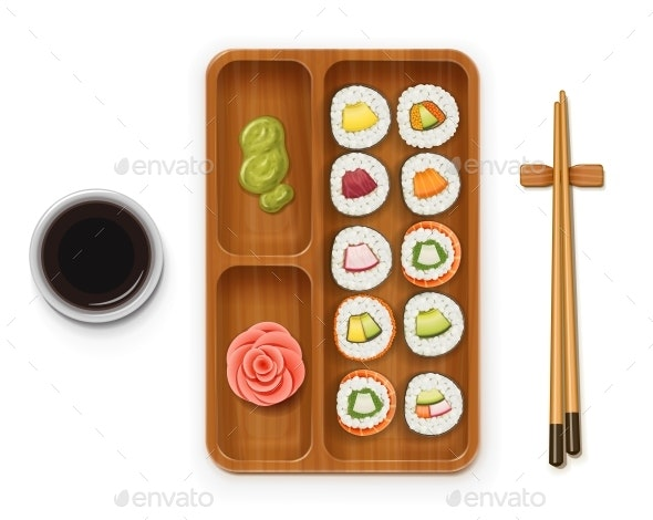 Set of Sushi Rolls - Food Objects