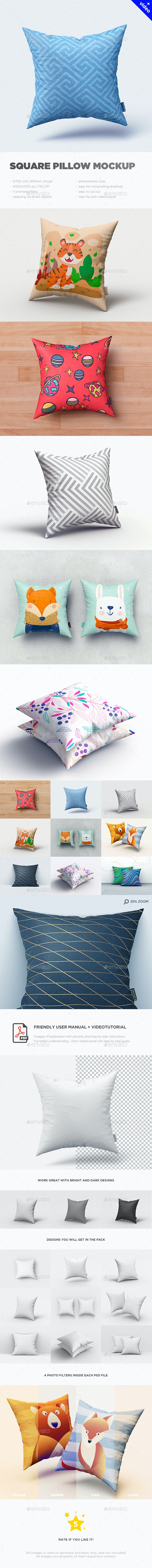 Square Pillow MockUp - Miscellaneous Product Mock-Ups