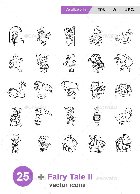 Fairy Tale II Outlines Vector Icons - Miscellaneous Characters