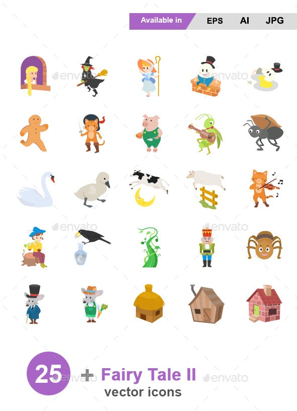 Fairy Tale II Color Vector Icons - Miscellaneous Characters