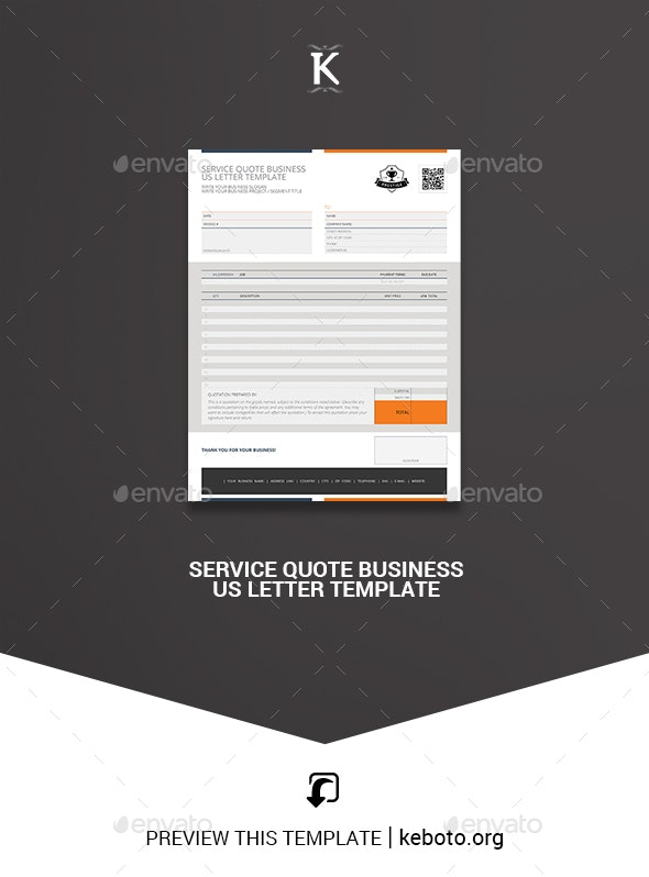 Service Quote Business US Letter Template - Miscellaneous Print Templates
