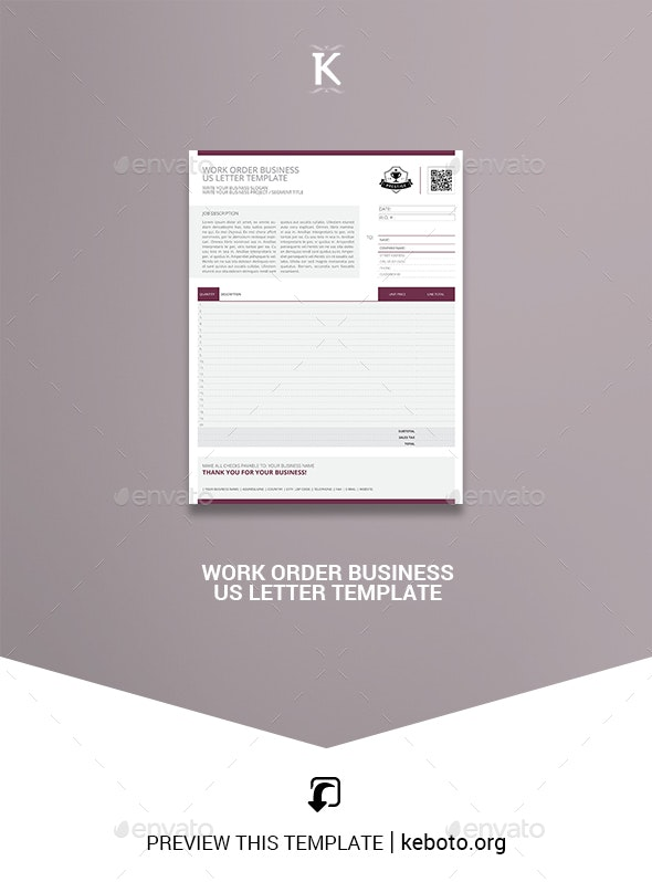 Work Order Business US Letter Template - Miscellaneous Print Templates