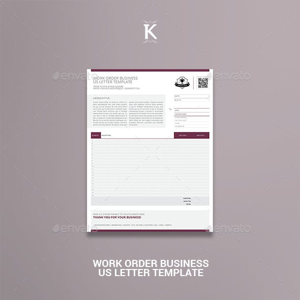 Work Order Business US Letter Template
