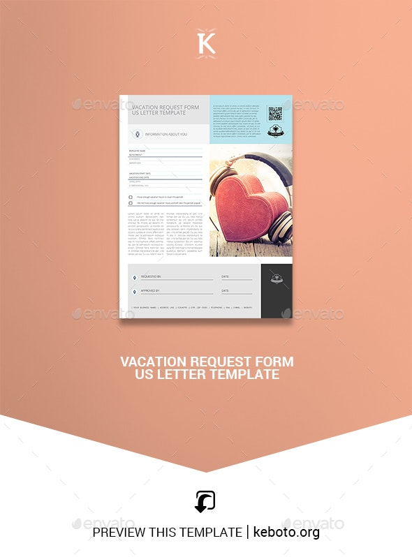 Vacation Request Form US Letter Template - Miscellaneous Print Templates