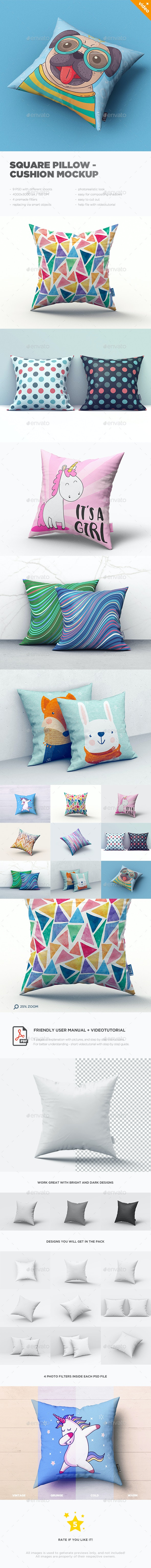 Square Pillow / Cushion MockUp - Miscellaneous Product Mock-Ups