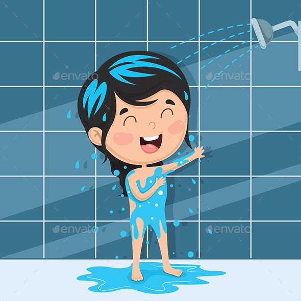 Vector Illustration of Kid Bathing - People Characters