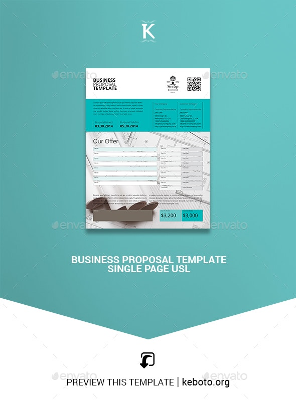 Business Proposal Template Single Page US Letter - Proposals & Invoices Stationery