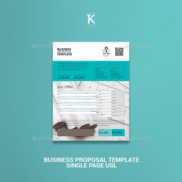Business Proposal Template Single Page US Letter