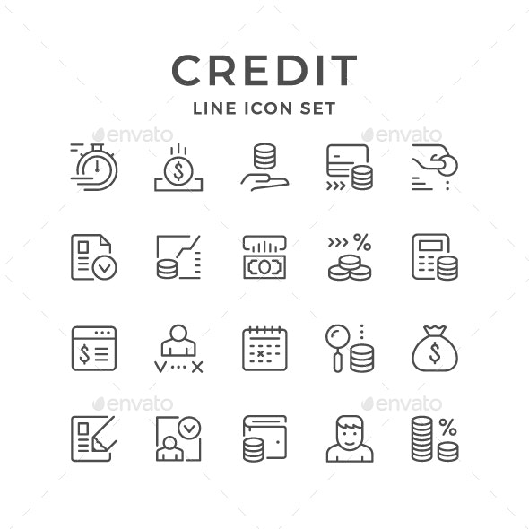 Set Line Icons of Credit - Man-made objects Objects