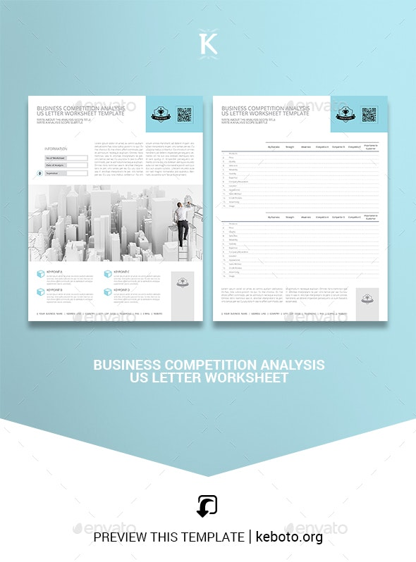 Business Competition Analysis US Letter Worksheet - Miscellaneous Print Templates
