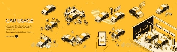 Car Usage Cost and Risks Vector Infographics - Industries Business