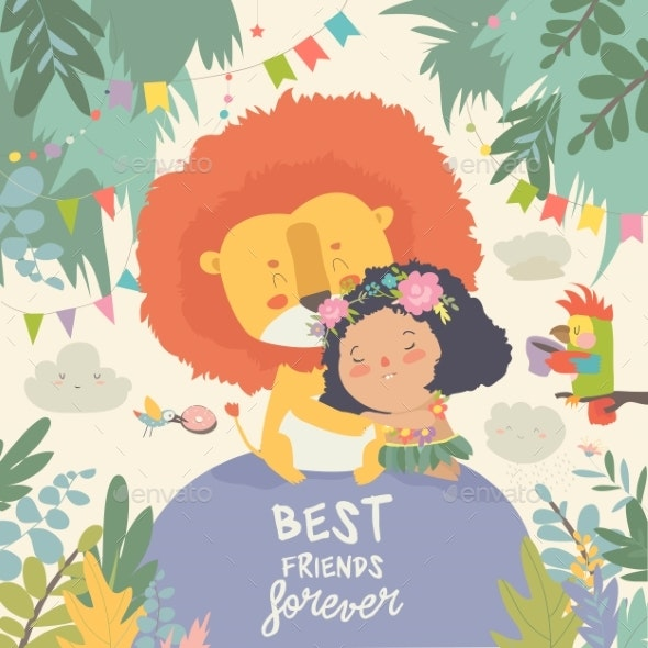Cartoon Girl Hugging the Lion Best Friends - Animals Characters
