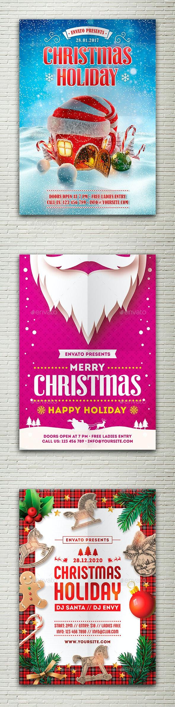 Christmas Holiday Flyers Bundle - Holidays Events
