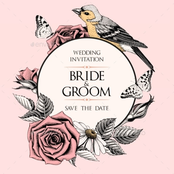 Vector Wedding Invitation with Hand Drawn Roses - Flowers & Plants Nature