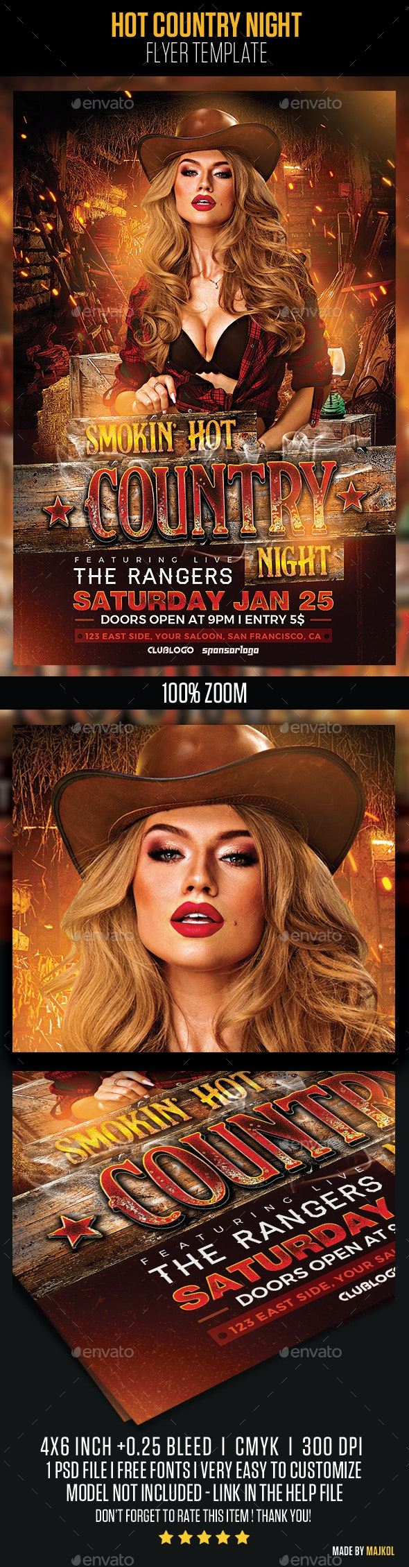 Hot Country Night Flyer Template - Events Flyers