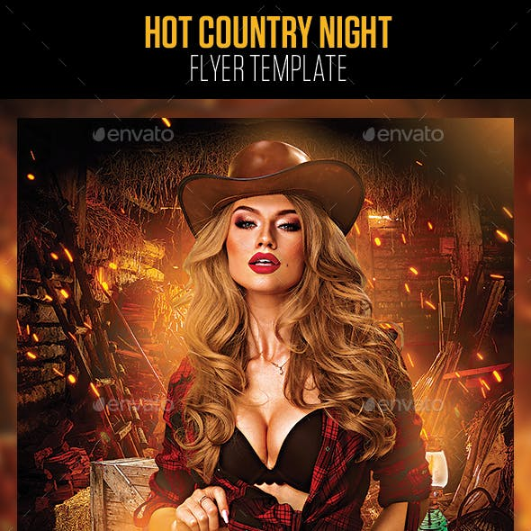 Hot Country Night Flyer Template