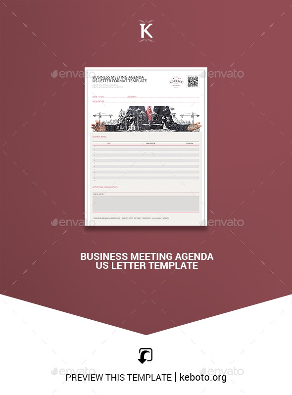Business Meeting Agenda US Letter Template - Miscellaneous Print Templates