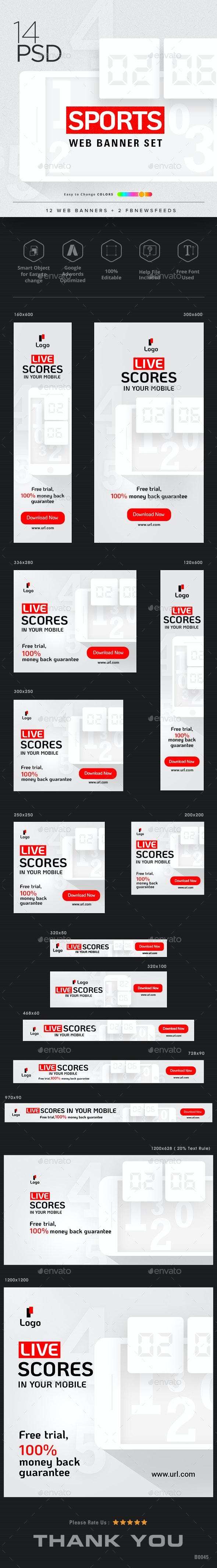 Sports Web Banner Set - Banners & Ads Web Elements