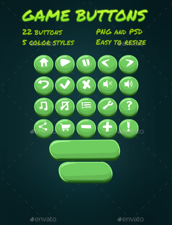 Cartoon Game Buttons - User Interfaces Game Assets