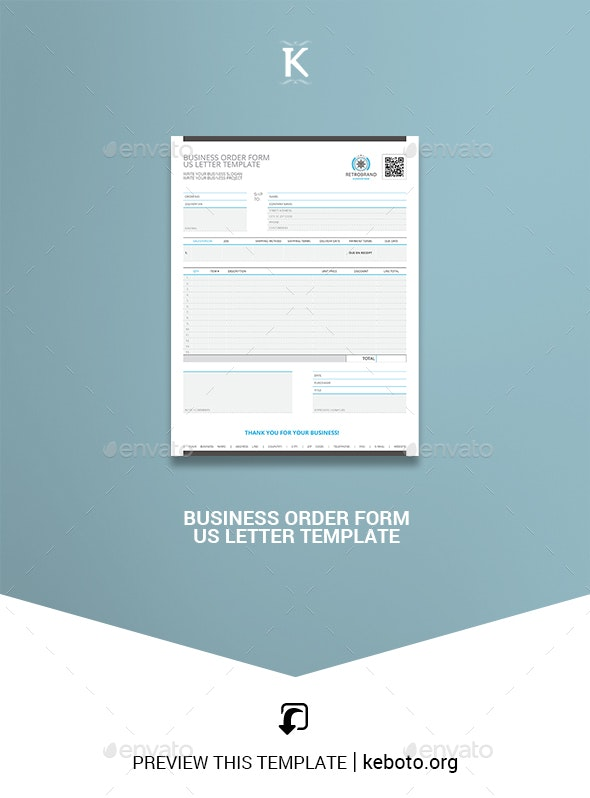 Business Order Form US Letter Template - Miscellaneous Print Templates
