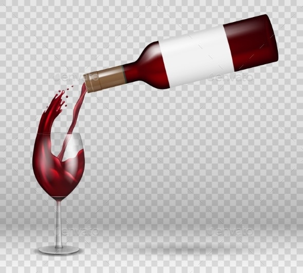 Transparent Wine Bottle and Wineglass Mockup - Food Objects