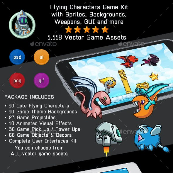 Flying Characters Game Kit - Sprites, Backgrounds, Tilesets, User Interfaces