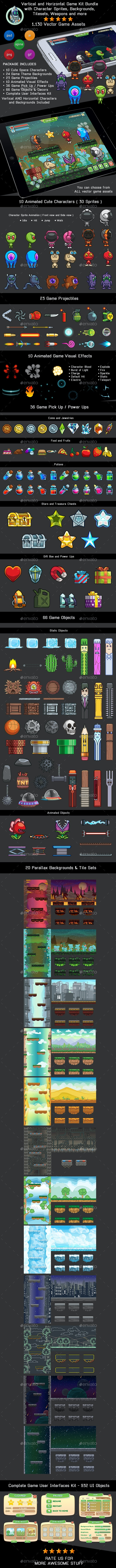 Space Game Kit - Sprites, Backgrounds, Tilesets and GUI - Game Kits Game Assets