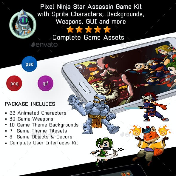 Pixel Ninja Star Assassin Game Kit - Sprites, Backgrounds and Weapons