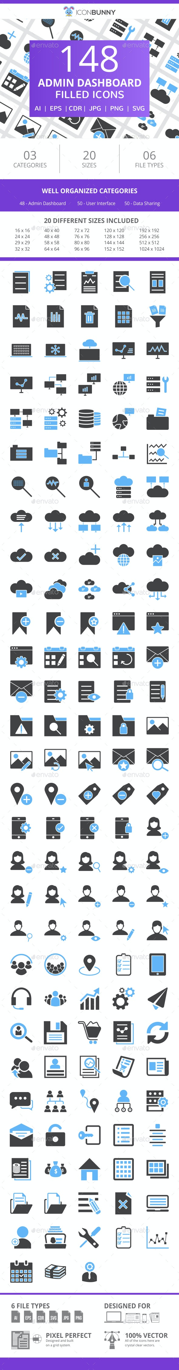 148 Admin Dashboard Filled Blue & Black Icons - Icons