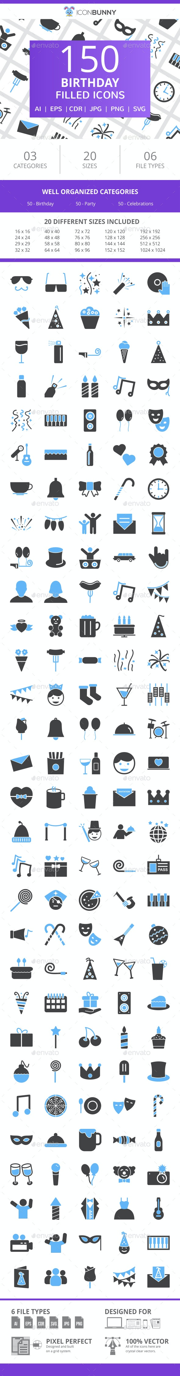 150 Birthday Filled Blue & Black Icons - Icons