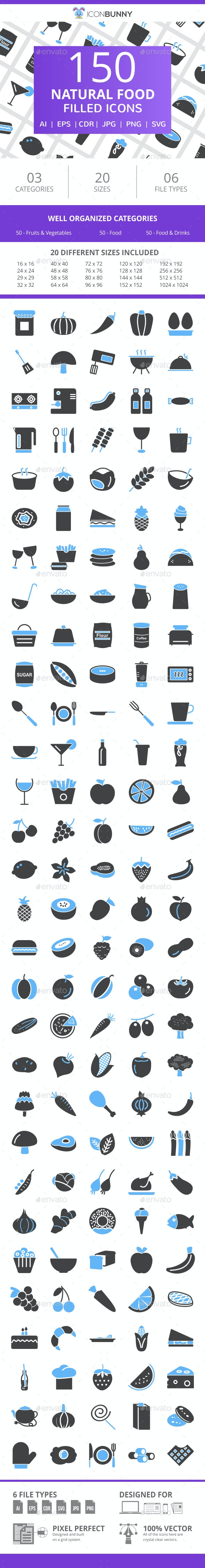 150 Natural Food Filled Blue & Black Icons - Icons