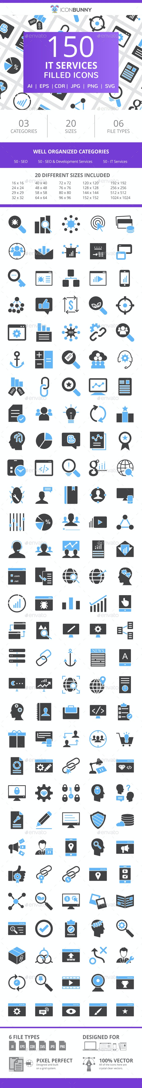 150 IT Services Filled Blue & Black Icons - Icons