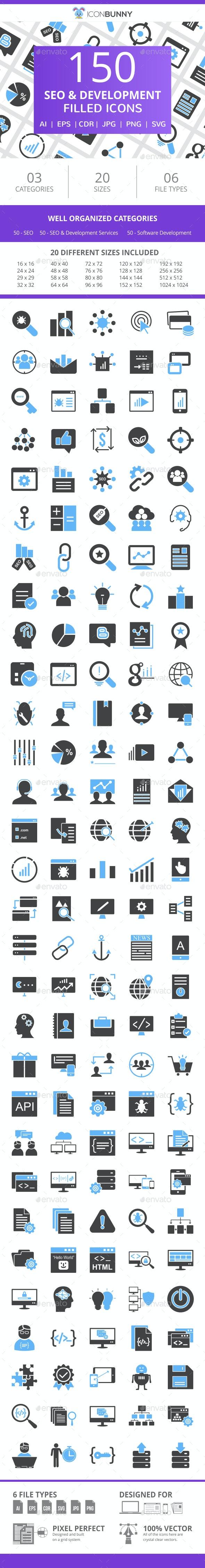 150 SEO & Development Filled Blue & Black Icons - Icons