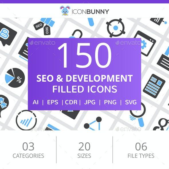 150 SEO & Development Filled Blue & Black Icons